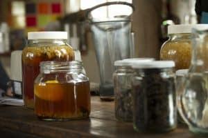 Kefir y frascos de fermentación
