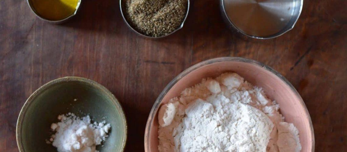 Ingredientes pan de arroz fermentado vistos de arriba