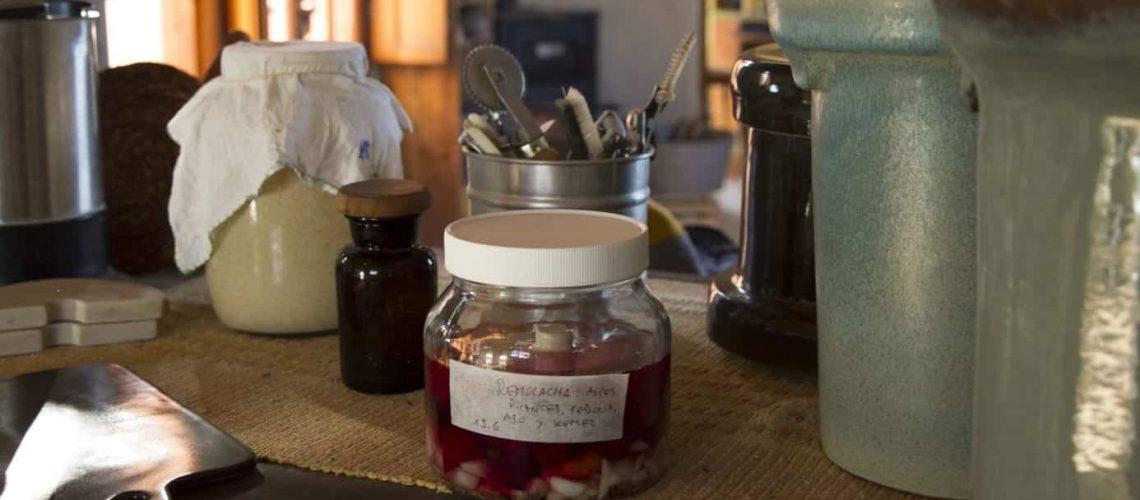 Mesada con vasijas y fermentos