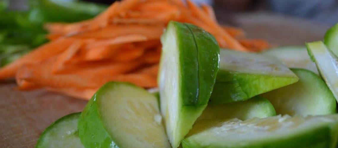 Zapallitos y palitos de zanahoria